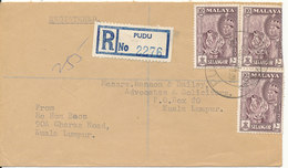 Malaysia Registered Cover Pudu Selangor 16-2-1962 Sent To Kuala Lumpur (1 Stamp Bended On To The Backside Of The Cover) - Selangor