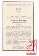DP Death Card In Memoriam - Charles Hallaert BELGIUM / † 1948 / Cliffside New Jersey USA - Images Religieuses