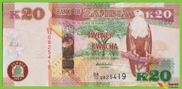 Voyo ZAMBIA 20 Kwacha 2012(2013) P52a B155a DA/12 UNC Fish Eagle - Zambie
