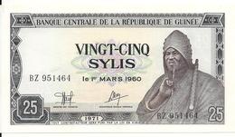 GUINEE  25 SYLIS 1971 UNC P 17 - Guinée