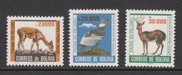 1985 Bolivia Endangered Animals Birds Condor  Complete Set Of 3 MNH - Bolivia