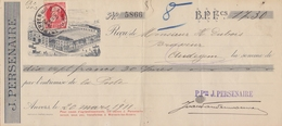 1911: Wissel Van/Traite De ## J. PERSENAIRE, Antwerpen/Anvers ##  Aan/vers ## Mr. H. Dubois, Brasseur, Audegem ## - Lettres De Change