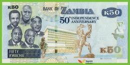 Voyo ZAMBIA 50 Kwacha 2014 P55 B158a EH/12 UNC Commemorative 50th Anniversary Of Independence (1964-2014) - Zambie