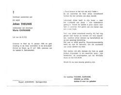 D 242. JOHAN THEUNIS Wed. M. Carmans - Lid K.V.G. - °PAAL 1908 / Sint-Jozef-kliniek Te DIEST 1986 - Images Religieuses
