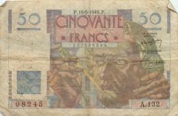 BILLET  CINQUANTE FRANCS LE VERRIER 1949 - 1871-1952 Anciens Francs Circulés Au XXème