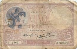 BILLET   CINQ FRANCS 1939 - 1871-1952 Anciens Francs Circulés Au XXème