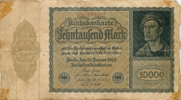 BILLET   10000 MARK  REICHSBANKNOTE 1922 - 1918-1933: Weimarer Republik