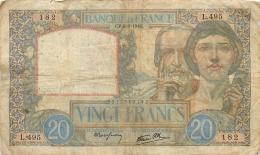 BILLET   VINGT FRANCS SCIENCE ET TRAVAIL 1940 - 1871-1952 Circulated During XXth