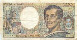 BILLET   DEUX CENT FRANCS MONTESQUIEU 1992 - 200 F 1981-1994 ''Montesquieu''
