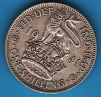 UK 1 SHILLING 1941 KM# 853 ENGLISH CREST George VI Argent 500‰ Silver - I. 1 Shilling