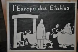 Très Rare Dessin Original Signé Carral à L'encre De Chine Dessin De Presse 1962 Union Européenne - Original Drawings