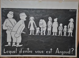 Très Rare Dessin Original Signé Carral à L'encre De Chine Dessin De Presse 1962 Guerre D'Algérie Général Argoud OAS - Original Drawings