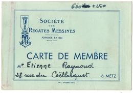METZ (57) SOCIETE Des REGATES MESSINES. CARTE D'ADHERENT. - Sports