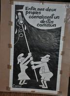 Très Rare Dessin Original Signé Carral à L'encre De Chine Dessin De Presse 1962 Reconciliation France Et Allemagne - Original Drawings