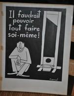 Très Rare Dessin Original Signé Carral à L'encre De Chine Dessin De Presse 1962 Guerre D'Algérie Peine De Mort - Original Drawings