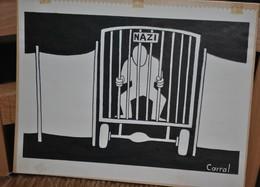 Très Rare Dessin Original Signé Carral à L'encre De Chine Dessin De Presse 1962 Procès Adolf Eichmann - Original Drawings