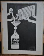 Très Rare Dessin Original Signé Carral à L'encre De Chine Dessin De Presse 1962 Guerre D'Algérie Rapatriés - Original Drawings