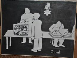 Très Rare Dessin Original Signé Carral à L'encre De Chine Dessin De Presse 1962 Guerre D'Algérie élection - Original Drawings