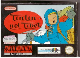 Cartouche Jeu Super Nintendo Tintin Au Tibet - Electronic Games