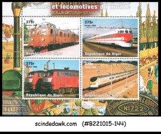 NIGER - 1998 RAILWAY LOCOMOTIVES / TRAINS - MIN. SHEET MINT NH - Trains