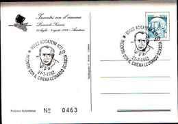 79264) CARTOLINA CON ANNULLO SPECIALE- ACICATENA -INCONTRI CON IL CINEMA-LEONARDO SCIASCIA-27-7-1992 - Cinema