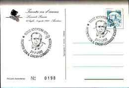 79266) CARTOLINA CON ANNULLO SPECIALE- ACICATENA -INCONTRI CON IL CINEMA-LEONARDO SCIASCIA-27-7-1992 - Cinema