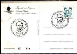 79267) CARTOLINA CON ANNULLO SPECIALE- ACICATENA -INCONTRI CON IL CINEMA-LEONARDO SCIASCIA-27-7-1992 - Cinema