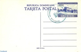 Dominican Republic 1948 Illustrated Postcard 2c, Unused With Postmark, (Used Postal Stationary), Stamps - Dominican Republic
