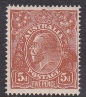 Australia SG 23 1915 King George V,5d Brown, Mint Hinged - 1913-36 George V: Heads
