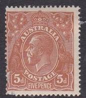 Australia SG 23a 1915 King George V,5d Brown, Mint Hinged - Mint Stamps