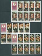 Aitutaki 1972 Christmas Set Of 3 In Blocks Of 9 + Label MNH / MLH - Aitutaki