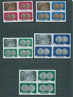 Aitutaki 1973 QEII Silver Wedding Coinage Set 7 In Blocks Of 3 + Label MNH / MLH - Aitutaki