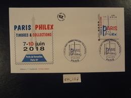 """FRANCE 2018 LETTRE PRIORITAIRE ADHÉSIF """" PARIS PHILEX  """"  OBLITERATION PREMIER JOUR  07 06 2018  ENVELOPPE F.D.C. - FDC"""