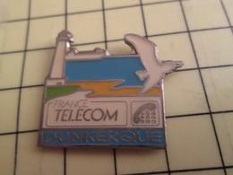 Sp02 Pin's Pins : Rare Et Belle Qualité  FRANCE TELECOM / DUNKERQUE MOUETTE PHARE PLAGE MER - France Telecom