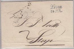 Österreich, Linz (L2 In Blau) A. Bf. N. Steyr 1841 - Faltbf. M. Inhalt - Österreich