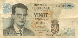 BILLET  VINGT FRANCS ROYAUME DE BELGIQUE - [ 2] 1831-... : Royaume De Belgique