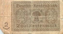 BILLET  DEUX RENTENMARK - [ 4] 1933-1945 : Troisième Reich