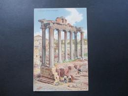 Künstlerkarte Werbepostkarte Cichorien Daniel Voelcker Bester Kaffeezusatz. Roma Tempio Di Saturno Ernesto Richter - Werbepostkarten