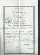 MILITARIA  CERTIFICAT BONNE CONDUITE MILITAIRE GENDARMERIE BRIGADIER A PIED MAGNOL JEAN 17e LÉGION BIS A AGEN 1903 : - Police & Gendarmerie