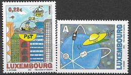 """2002  Luxemburg Mi. 1590-1**MNH  Kinder- Und Jugend-Malwettbewerb """"Die Post In 50 Jahren - Luxembourg"""