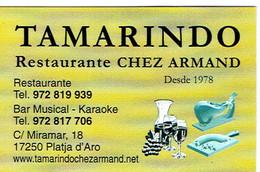 Carte De Visite Du Restaurante Tamarindo (Chez Armand) Platja D'Aro (Espagne, 2013) - Cartes De Visite