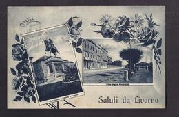 CPA ITALIE - LIVOURNE - LIVORNO - SALUTI DA TB CP 2 Vues Entourées De Fleurs Dont Viale Regina Margherita + Monumento - Livorno