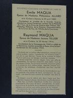 Emile Maqua épx Allard Corbion 1889 Et Raymond Maquat épx Tellier Corbion 1914 Tombés à Essen 23 Octobre 1944 - Images Religieuses