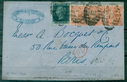 G.B. 15 Mai 1867(??) Affr. 2 Pences Bleu + 3 Ex N° 32.arrivé  PARIS Le 16.jolie Lettre .cote Des Tp Environ : 250 €. - Covers & Documents