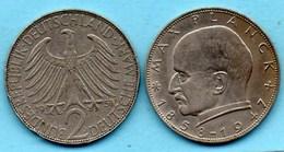 (r65) GERMANY Fédéral Rép  2 MARK 1958 J  Max PLANCK  Km#116 - [ 7] 1949-… : FRG - Fed. Rep. Germany