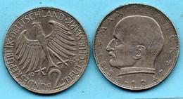 (r65) GERMANY Fédéral Rép  2 MARK 1963 F  Max PLANCK  Km#116 - [ 7] 1949-… : FRG - Fed. Rep. Germany