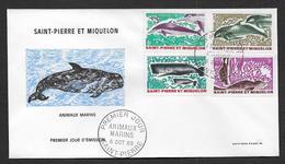 St Pierre Et Miquelon - N° 391 / 394  Sur FDC - ( Cote Des Timbres Oblitérés 12,00 € ) - FDC
