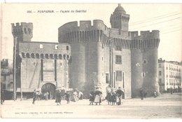 FR66 PERPIGNAN - Brun 956 - Carte Tissus Soie - Le Castillet - Animée - Belle - Perpignan