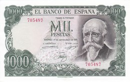 BILLETE DE ESPAÑA DE 1000 PTAS DEL AÑO 1971 JOSE ECHEGARAY SIN SERIE SIN CIRCULÑAR-UNCIRCULATED (BANKNOTE) - 1000 Pesetas