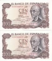 PAREJA CORRELATIVA DE 100 PTAS DEL AÑO 1970 SERIE 9A (SERIE SUSTITUCION) (SIN CIRCULAR-UNCIRCULATED)(BANK NOTE) - [ 3] 1936-1975 : Régimen De Franco